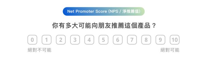 Net Promoter Score (NPS / 淨推薦值) 你有多大可能向朋友推薦這個產品 絕對不可能 0 1 2 3 4 5 6 7 8 9 10 絕對可能